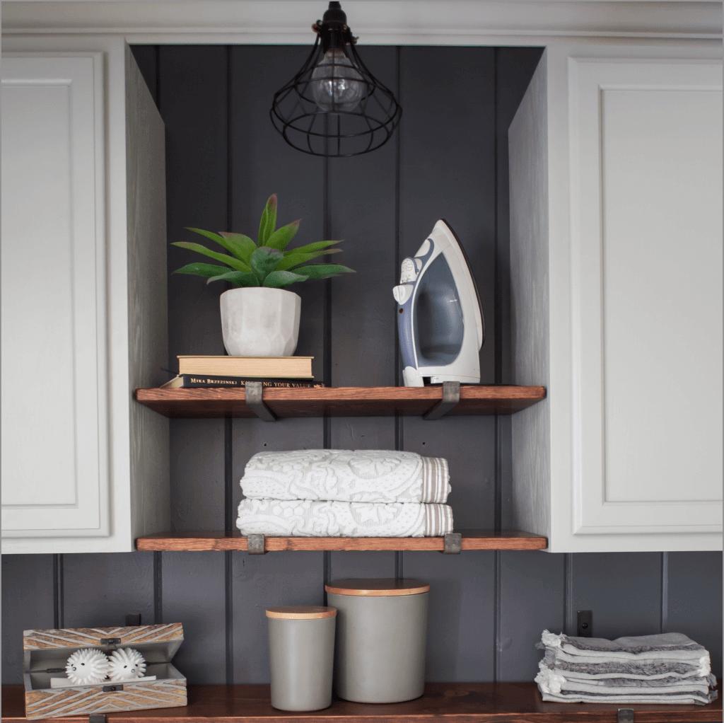 Wood, Grey, and White Farmhouse Laundry Room