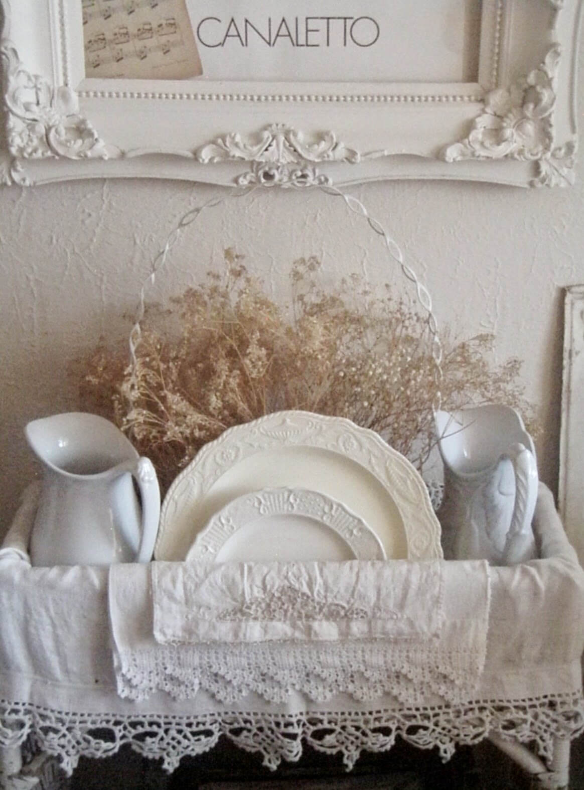 Doily Trimmed White Linens with Dishes