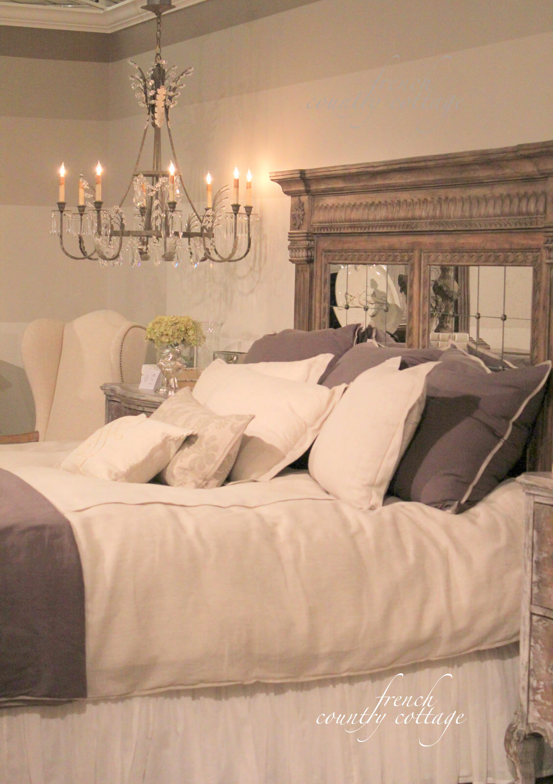 Luxurious Bed with Mirrored Headboard