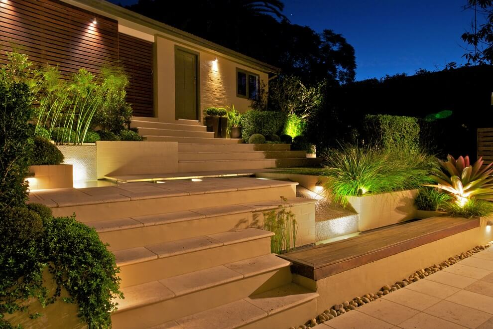 Terraced Stairs with Recessed Lighting