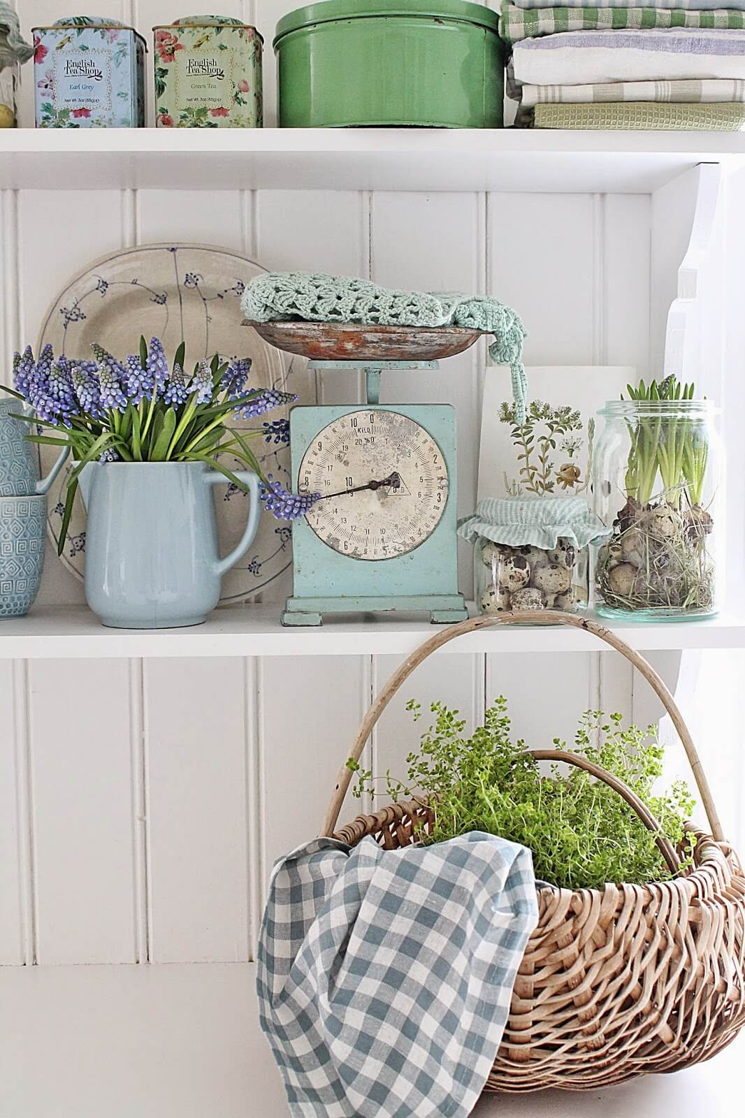 Large Woven Basket with Herbs