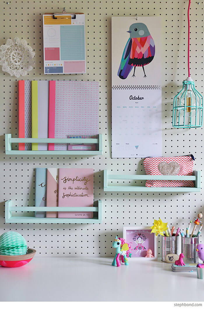 Perfectly Organized Girl's Desk with Pegboard