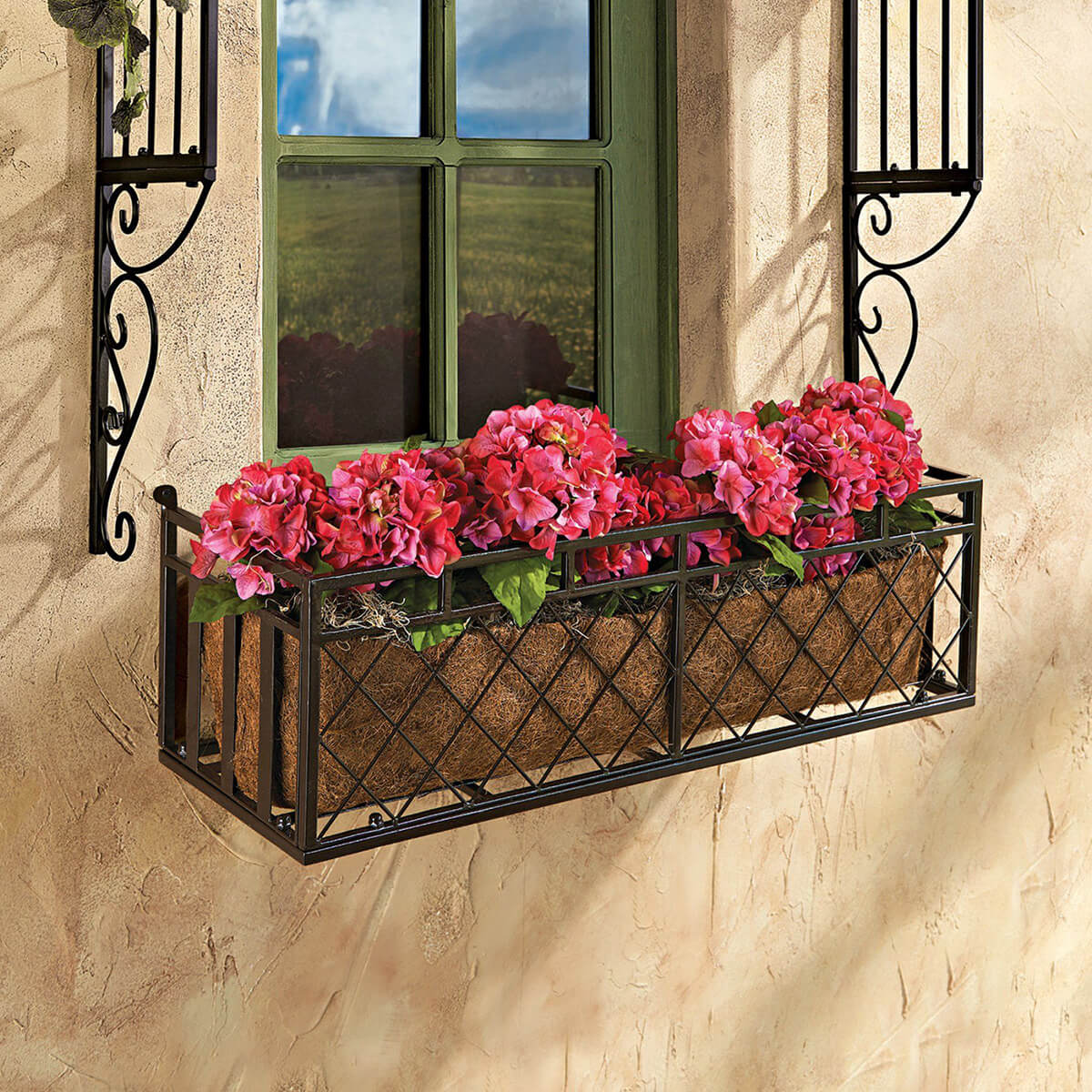 Black Metal Criss-cross Design Window Box