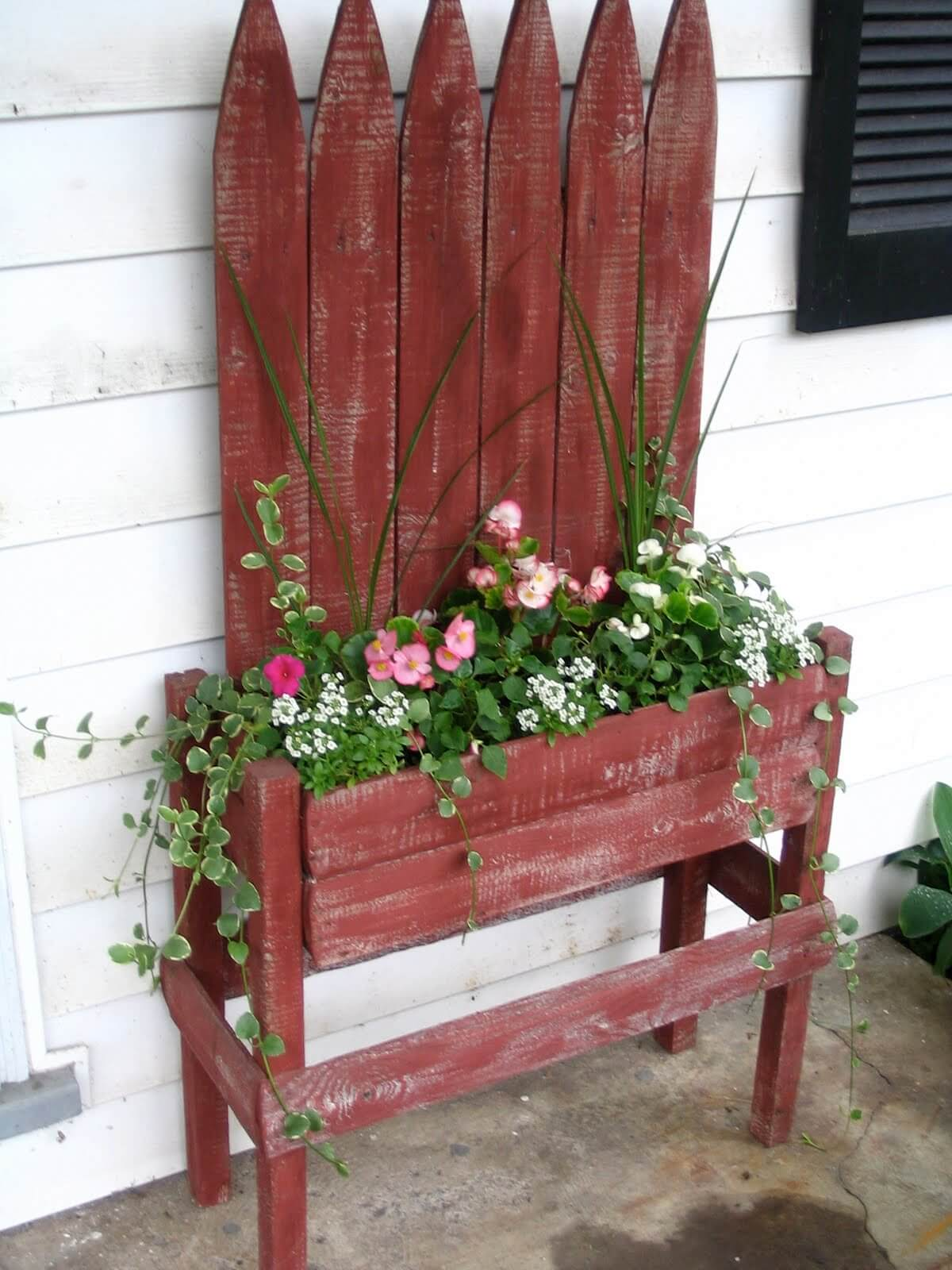 Red Picket Fence Planter with Flowers
