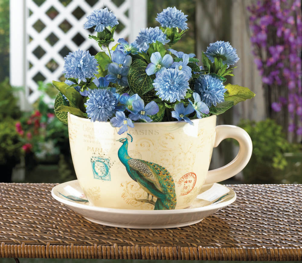 Interesting Mug with Blue Blooms