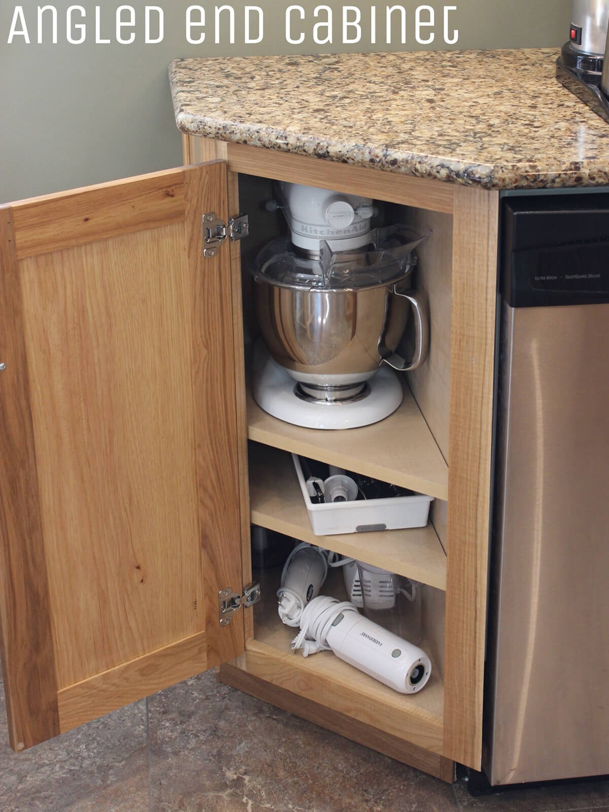 Angled End Cabinet for Appliances