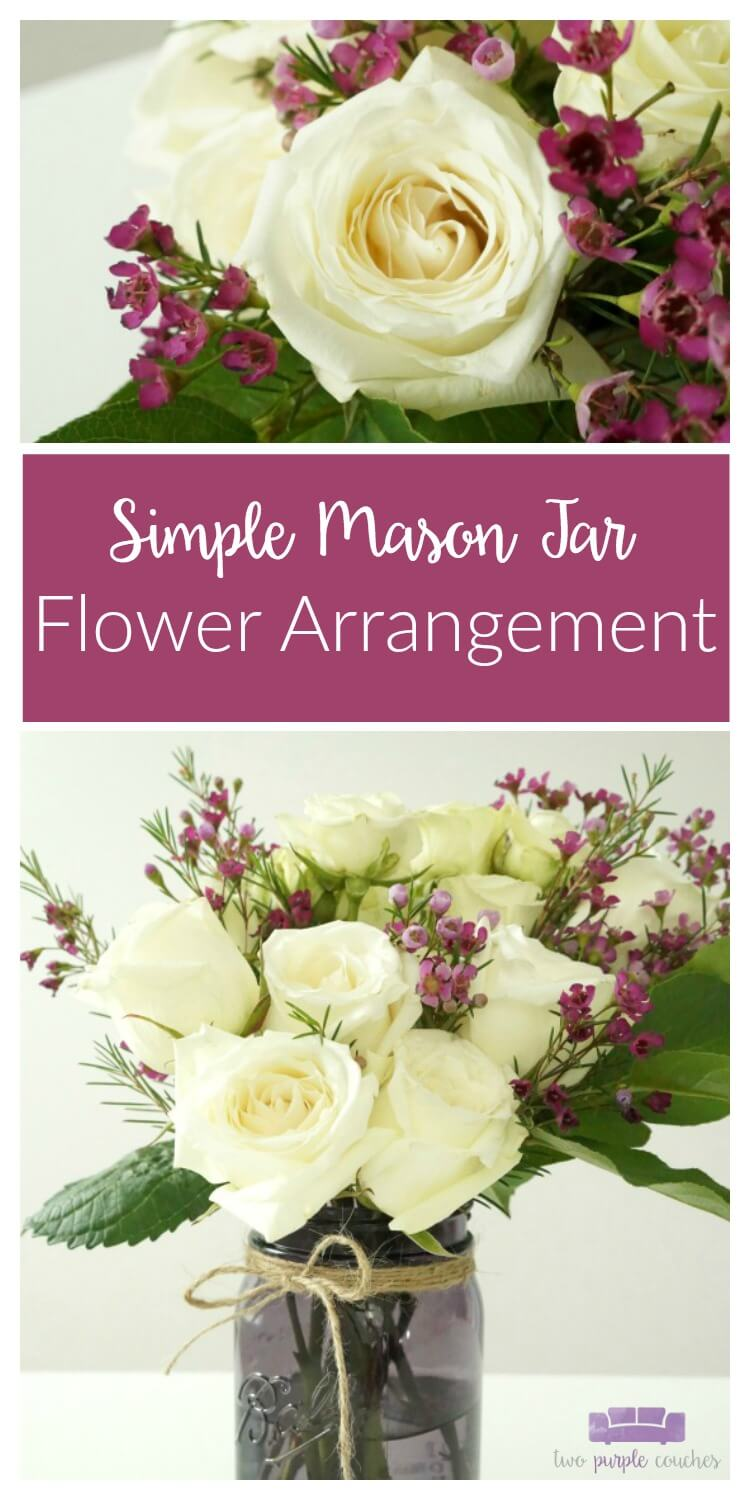 DIY Mason Jar Flower Arrangement with Blooming Roses