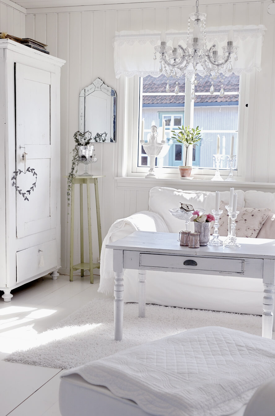 All White Room with Touches of Pink