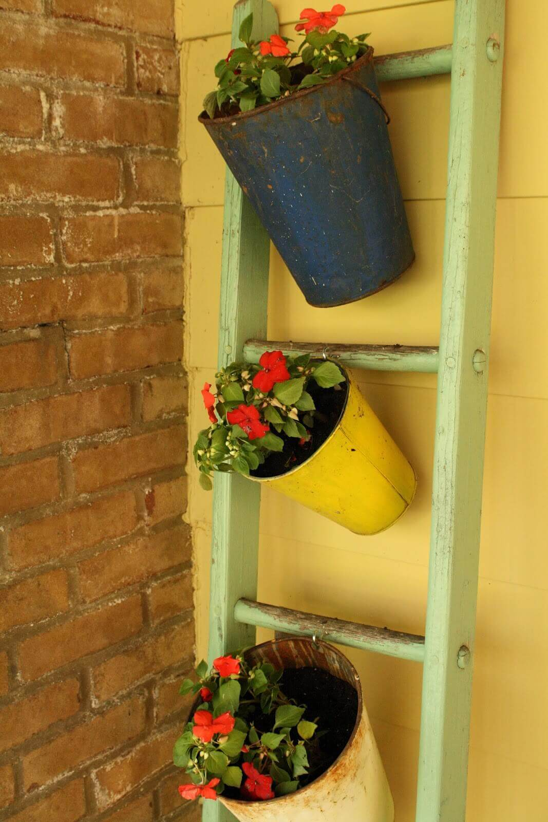 Old Pails Hanging from a Ladder