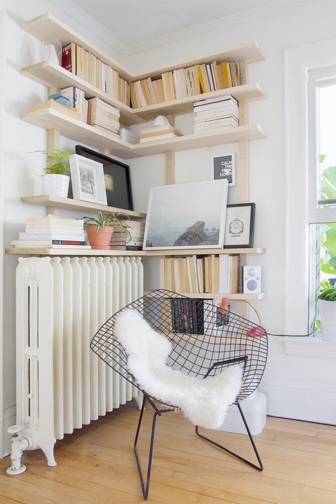 Tall Bookshelves on the Wall