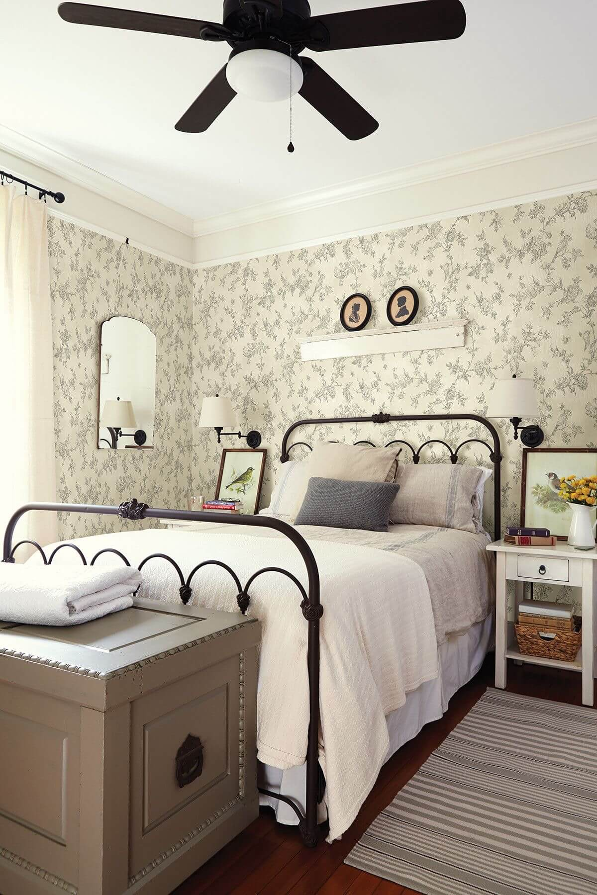 Pretty Wrought Iron Bedframe and White Linens