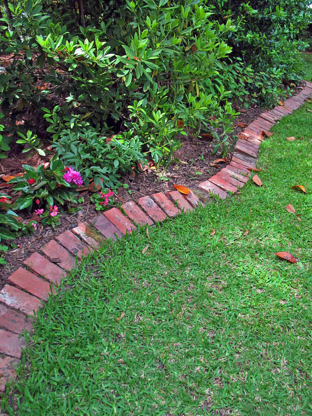 Classic Red Brick Lawn Edge