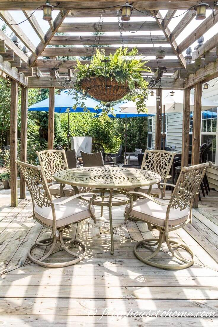 Oversized Round Table with Hanging Ferns