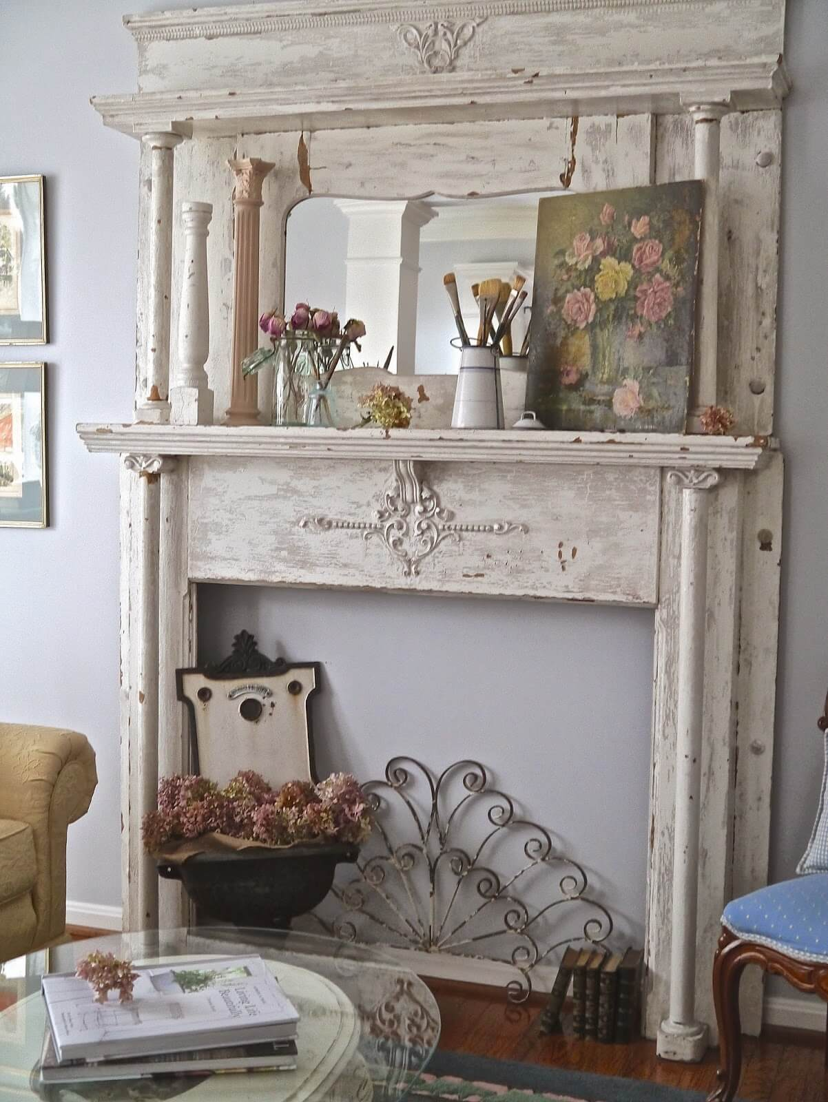 Distressed Wood Mantel Piece with Painting