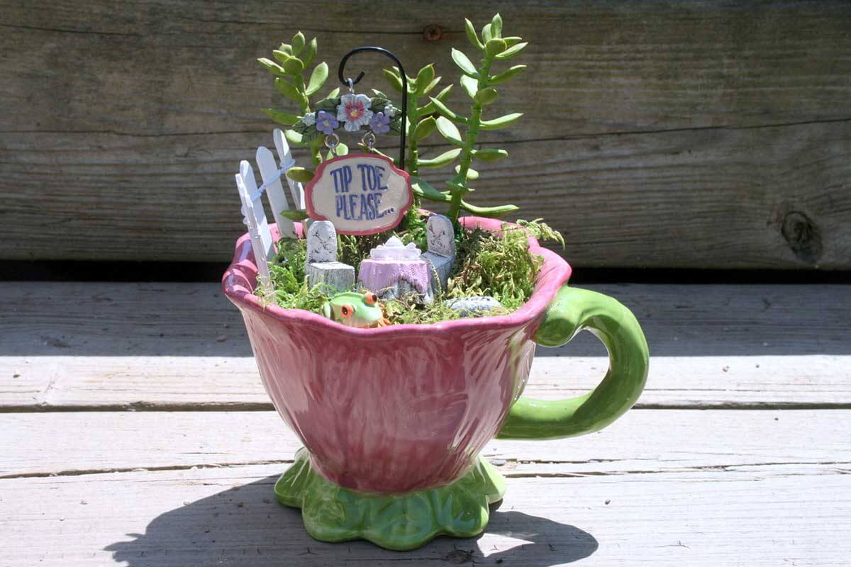 Blooming Teacup with a White Picket Fence