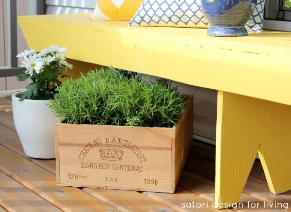 Little Wine Crate Tucked Under a Bench