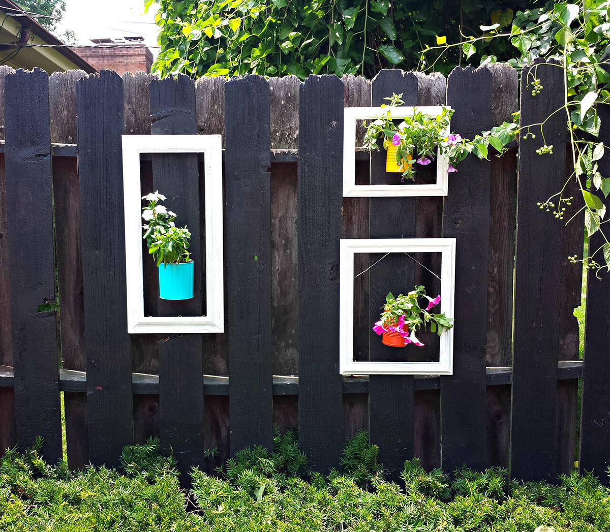 1. Hang Flowers in Upcycled Wooden Frames & 31 Best Garden Fence Decoration Ideas and Designs for 2018