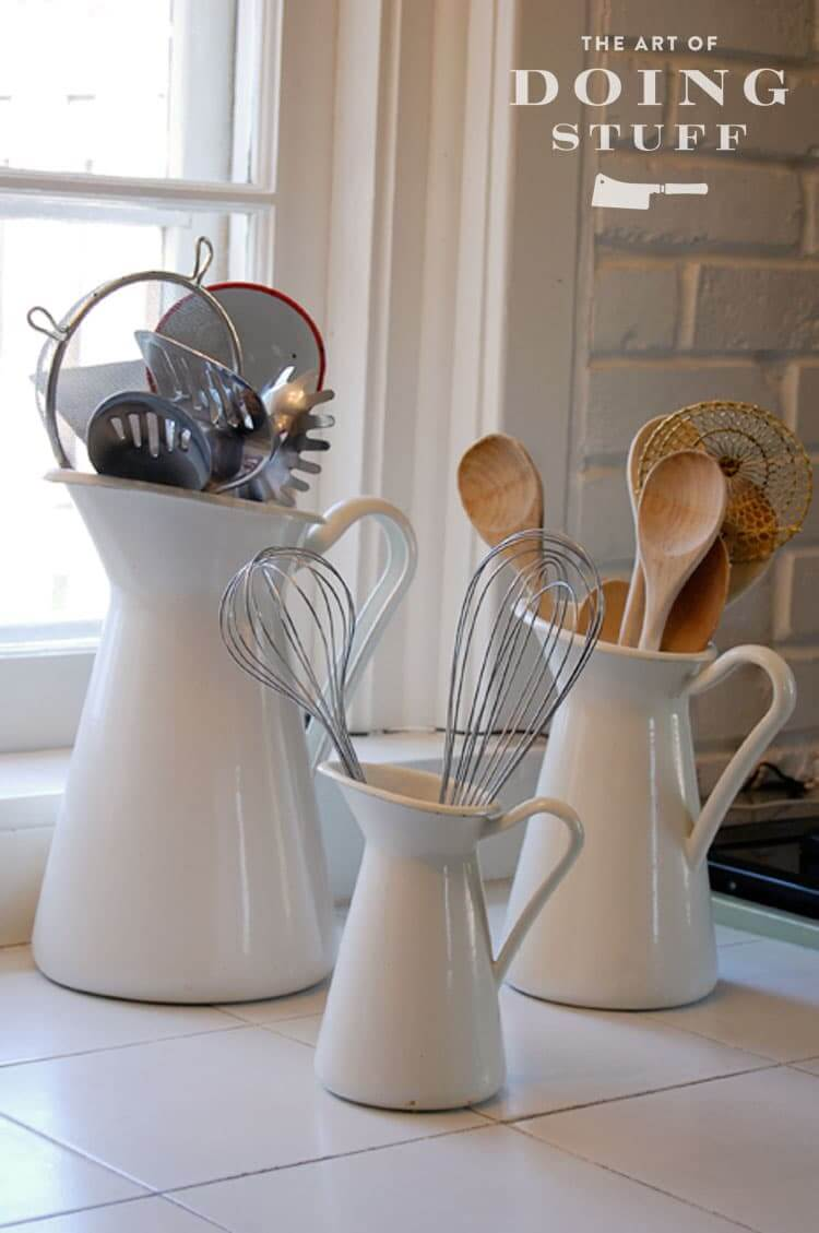 Use Graduated Pitchers for Utensils