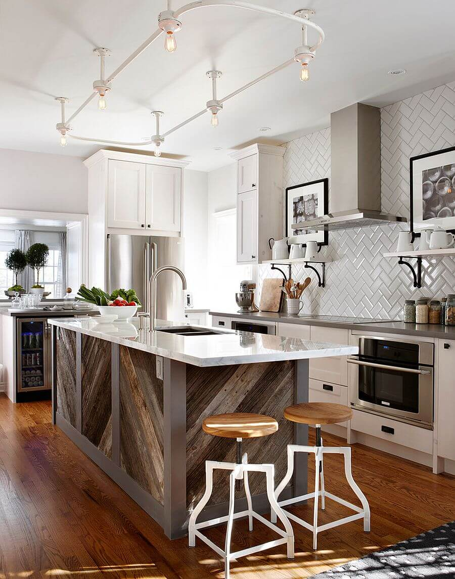 Kitchen Island with Sink and Barn-Style Base