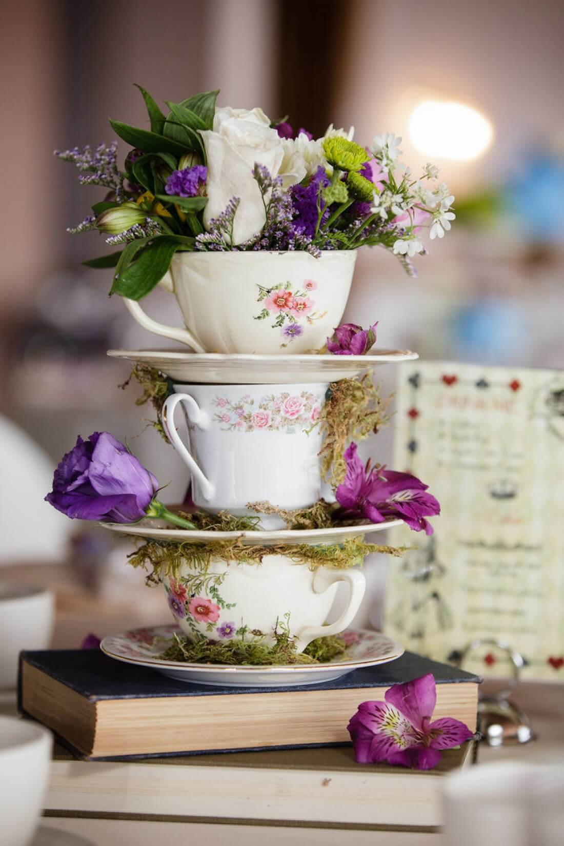 Teacup and Saucer Floral Tabletop Arrangement