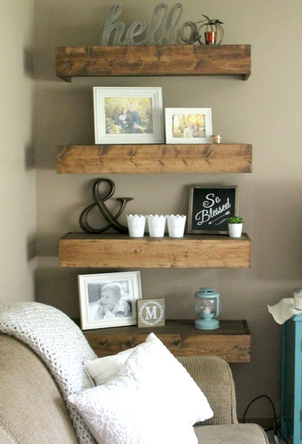 Farmhouse Bookshelf Decor Display