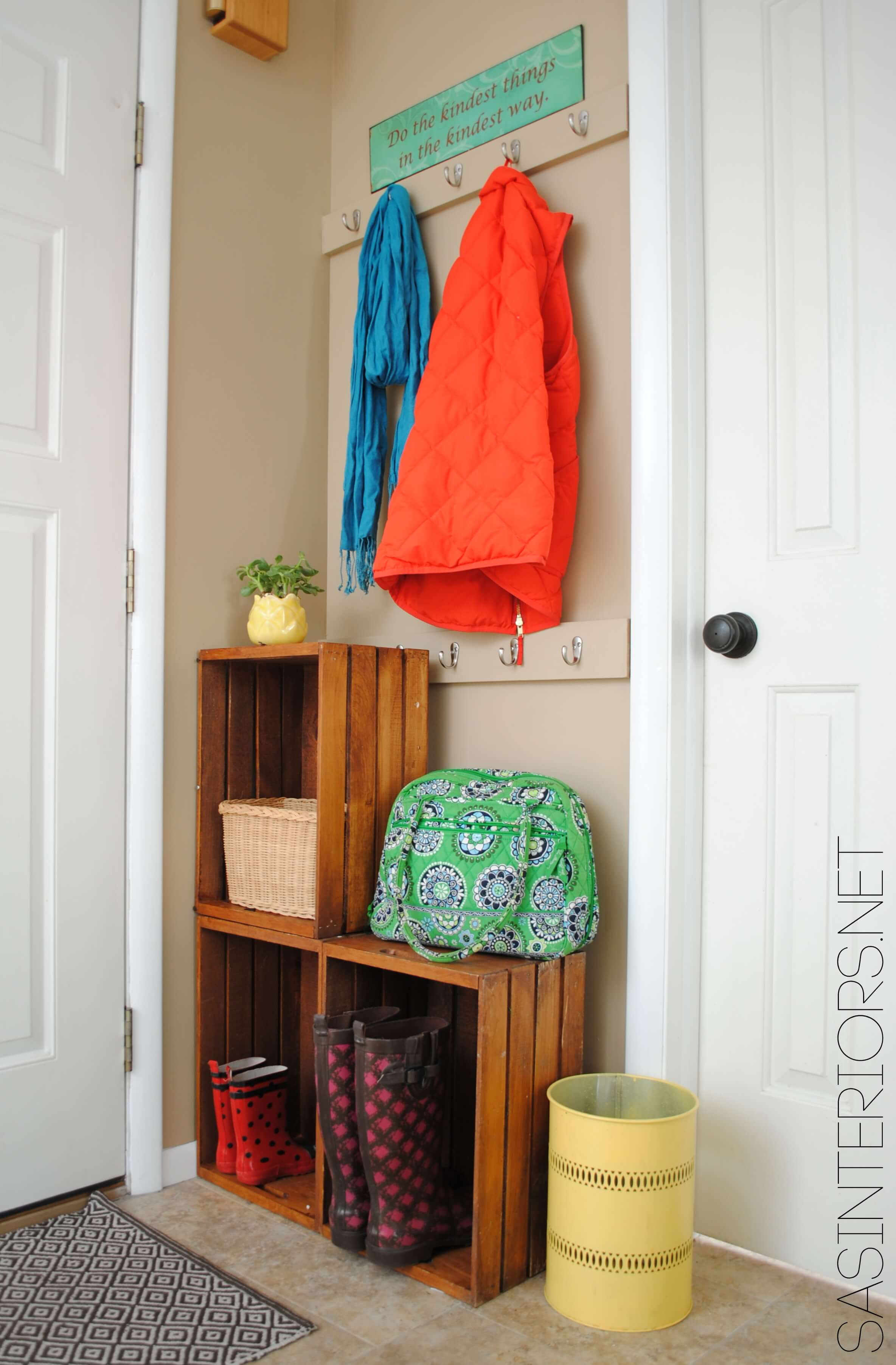 Stacked Crates Create Shelf Space in Tight Corner