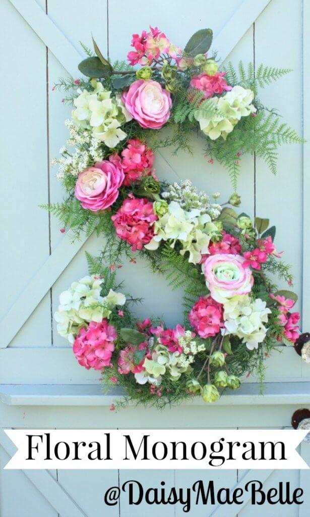 DIY Door or Wall Hanging Floral Monogram