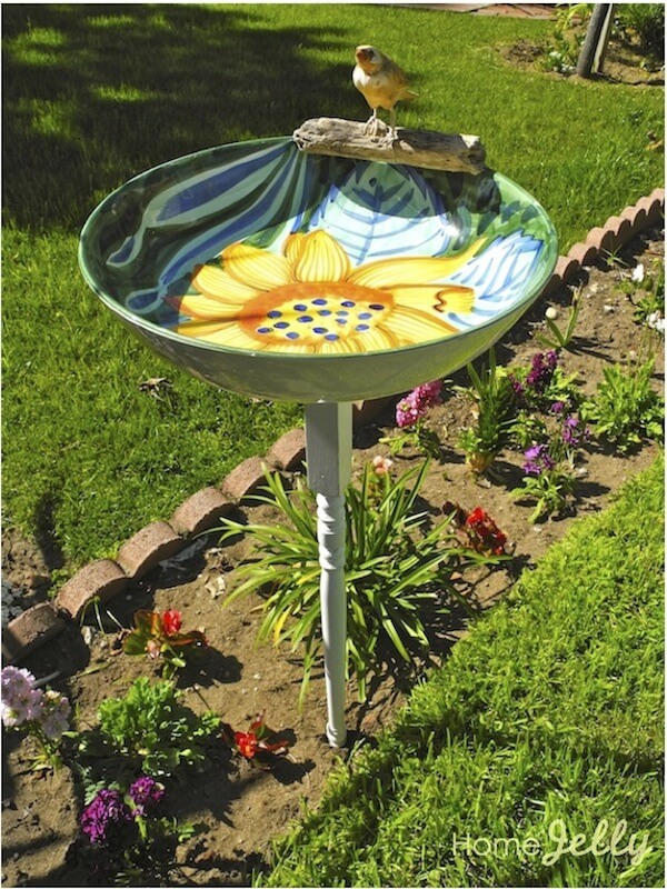 Old Bowl and Table Leg Bird Bath