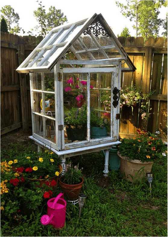 3 Old Windows Made Into A Greenhouse