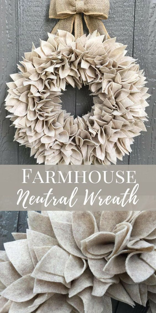 Soft Gray Wreath Made of Felt