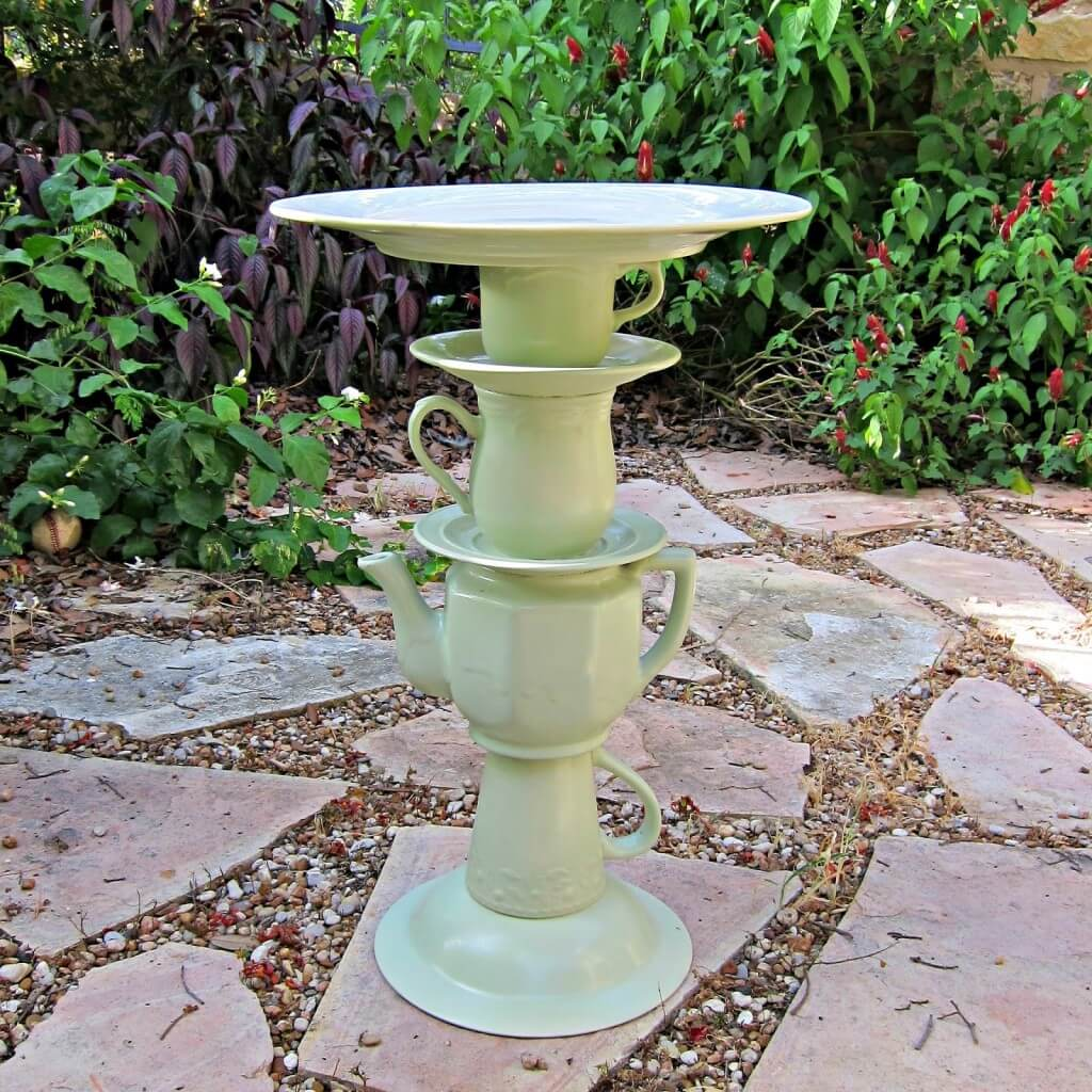 Bird Bath with Stacked Tea Set