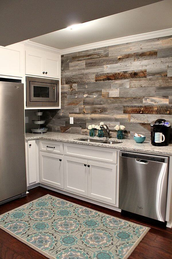 Picture Wall of Mixed Wood in Above Stove