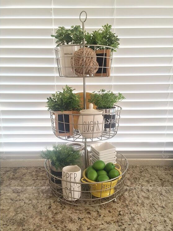 Three Tiered Wire Basket with Plants