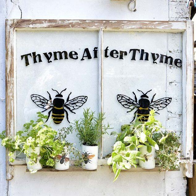 Bee Themed Painted Window with Herbs