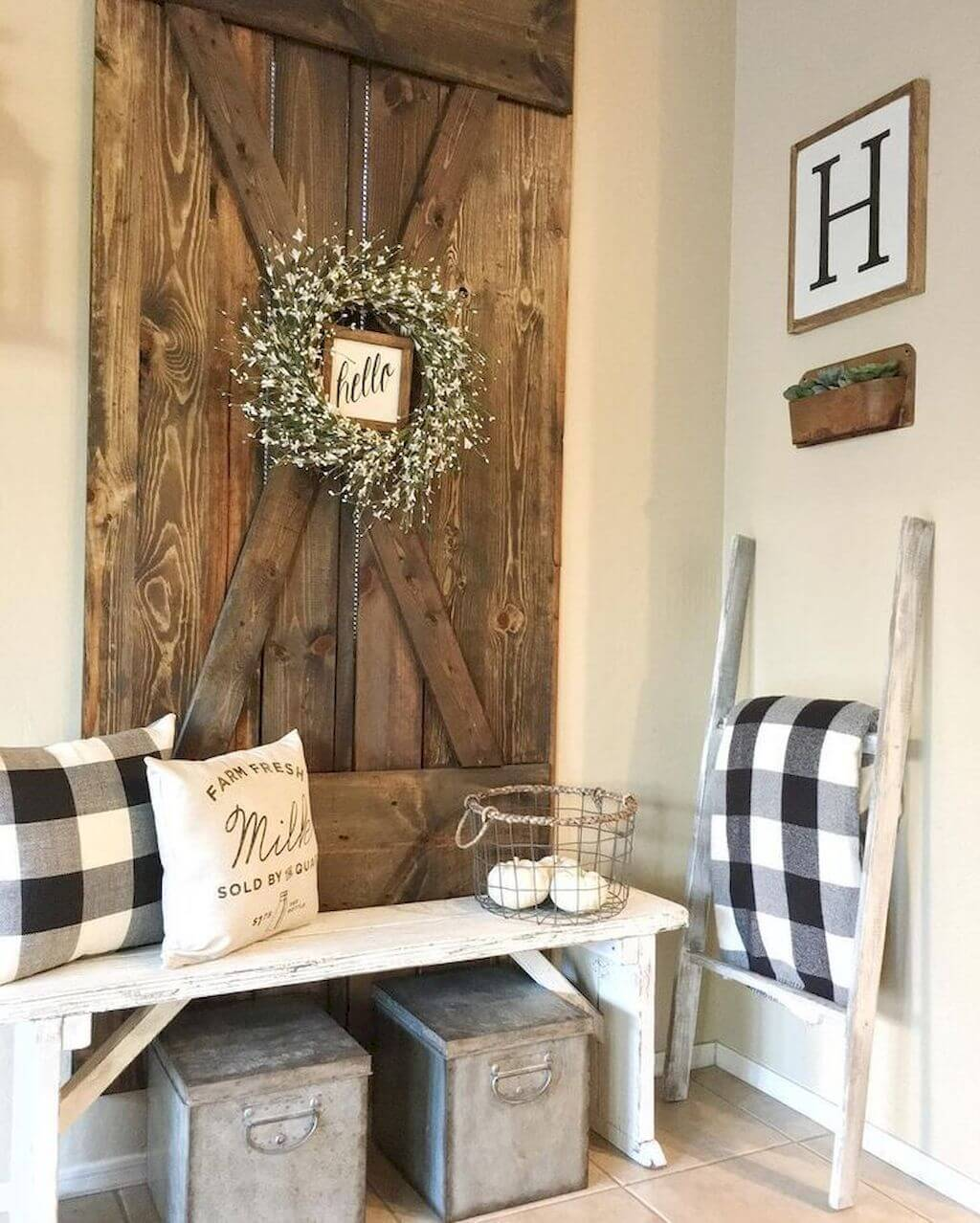 Rustic Hello in Barn Door Style