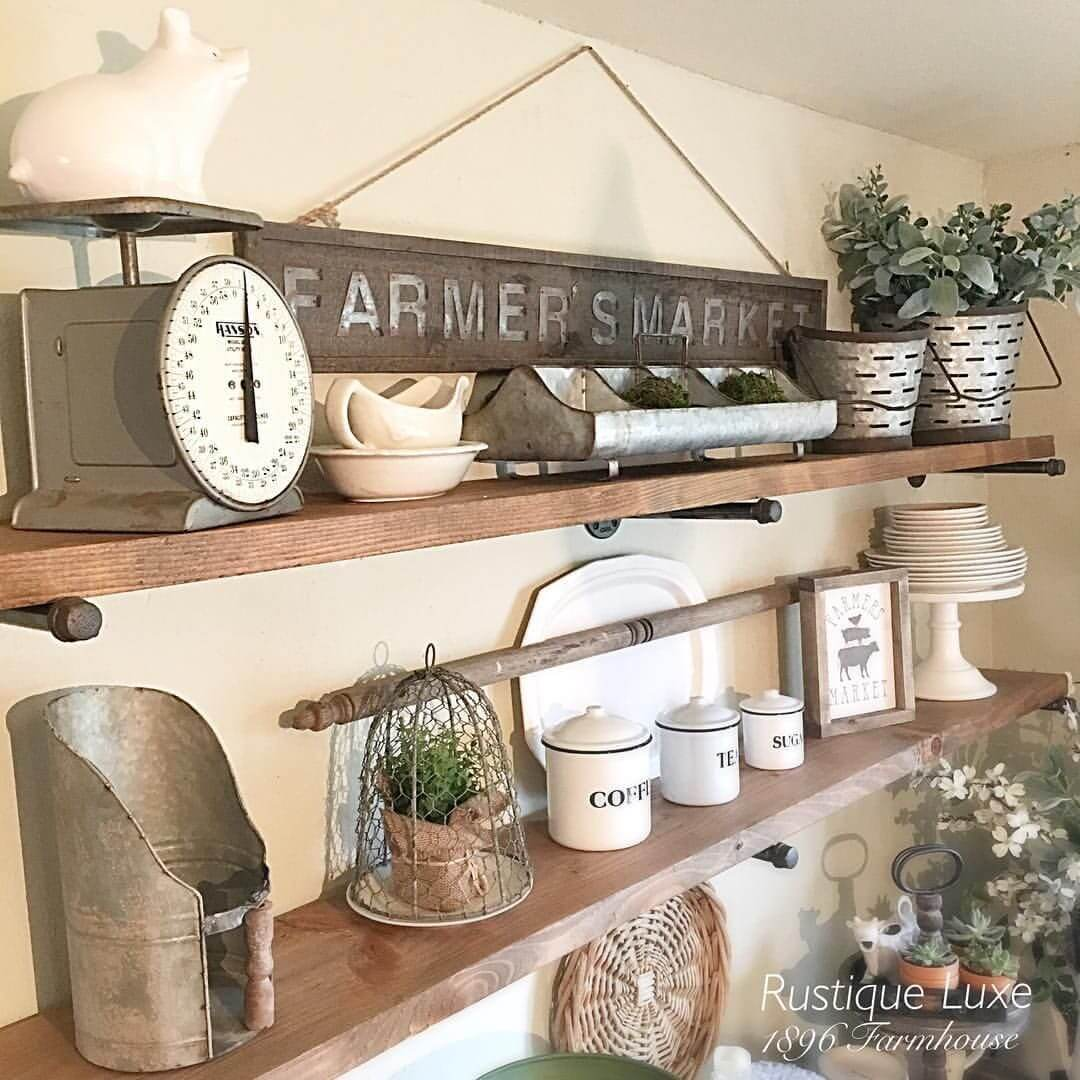 26 best farmhouse shelf decor ideas and designs for 2018 for Farm style kitchen decor