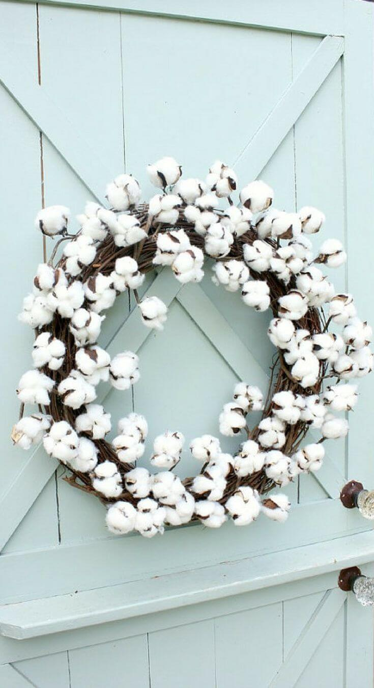 Soft Wreath with Cotton Blossoms