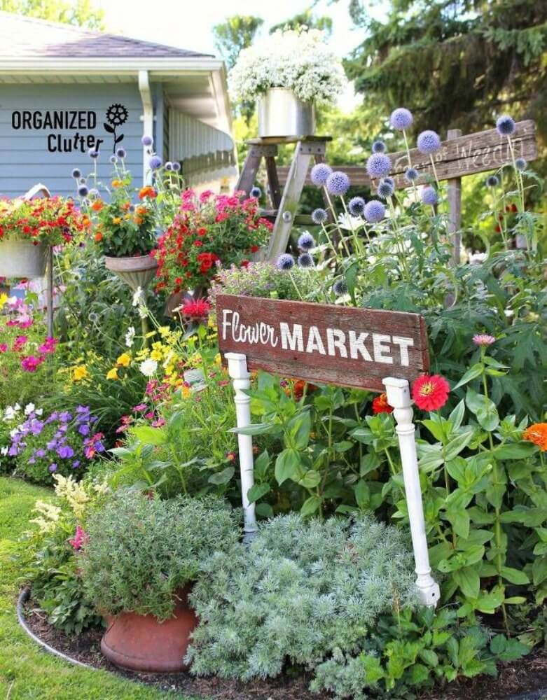 Flower Market Sign on Upcycled Table Legs
