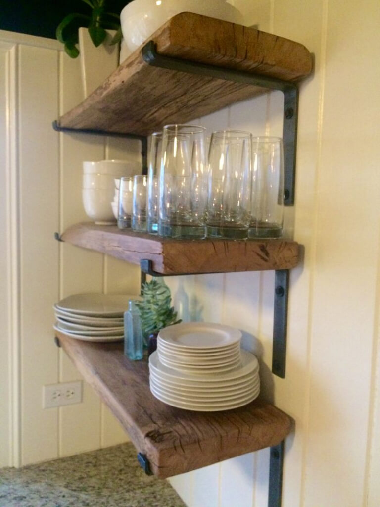 Tableware on Open Wood Shelving