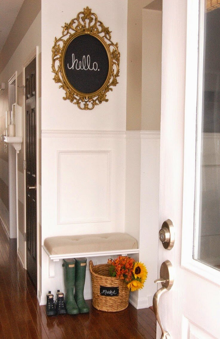 Ornate Message Board Above Cushioned Shelf Bench