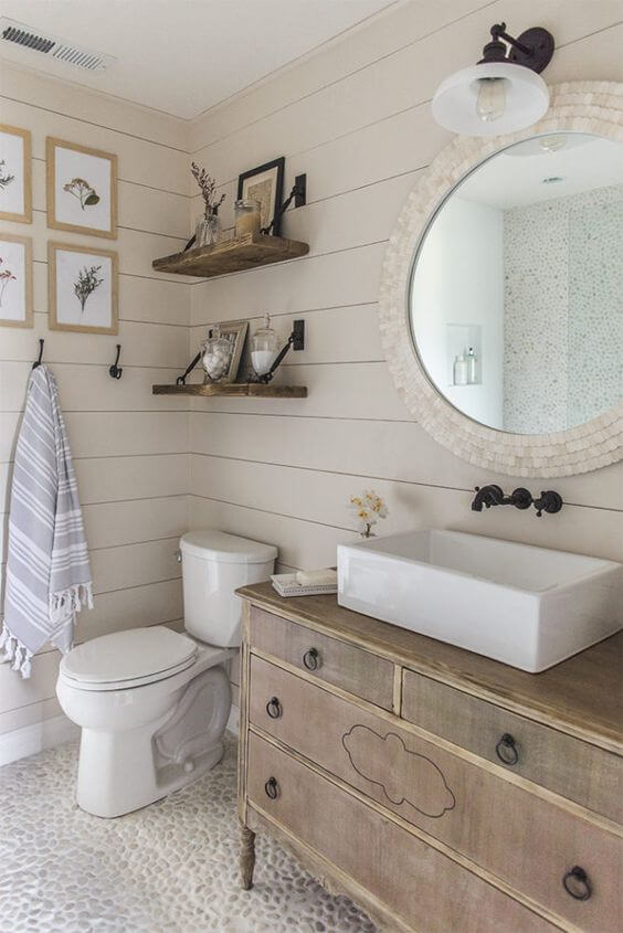 Charming Bathroom with Shiplap Paneling