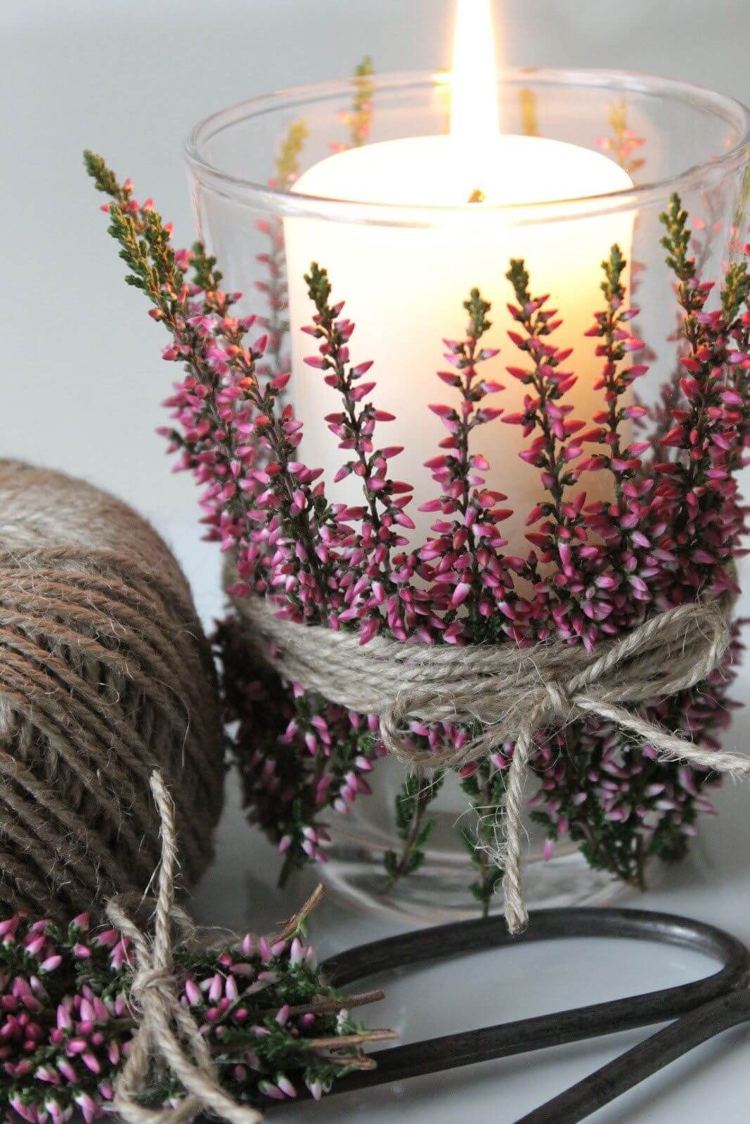Simple and Dainty Floral and Twine Candle Display