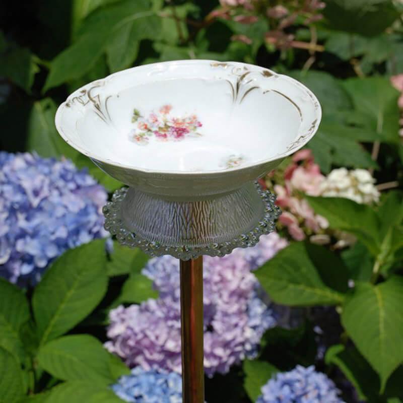 Pretty Vintage Dishes Used as a Bird Bath