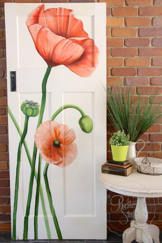 Orange Poppies Bloom on the Door