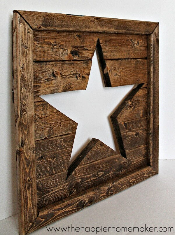 Rustic Cutout Wood Star Art