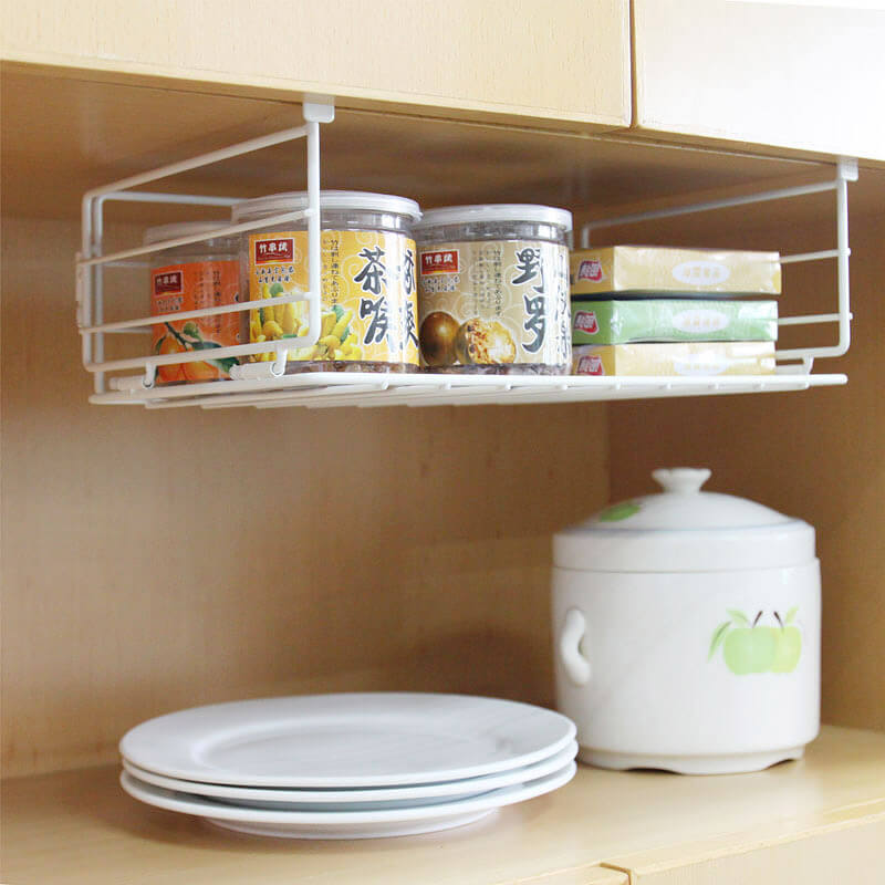 White Wire Hanging Shelf Under the Cabinets