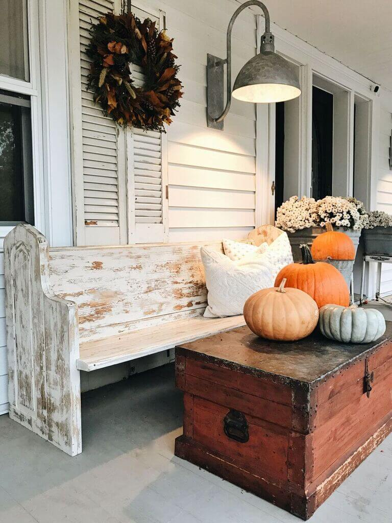 Porch Wall Decor Idea with Autumn Wreath