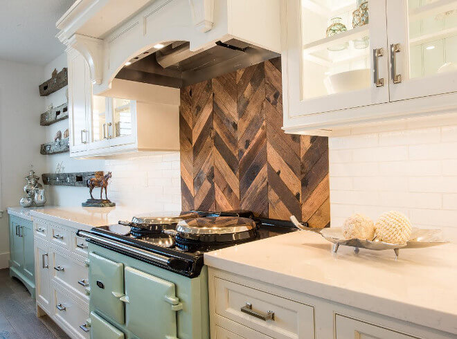 Wood Stove-top Back in Chevron Design