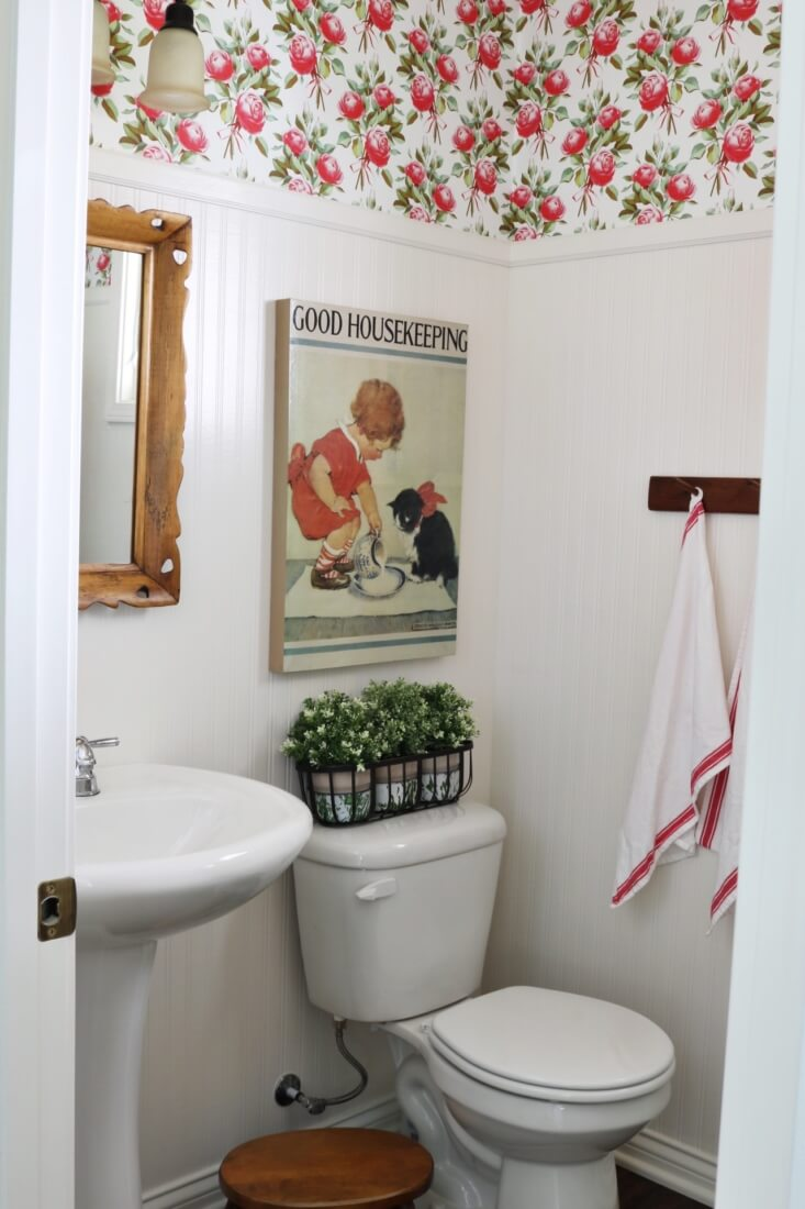 Wainscoting and Sweet Floral Wallpaper