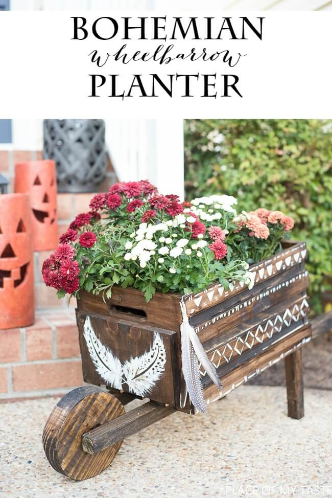 Wheelbarrow Planter with Bohemian Flair